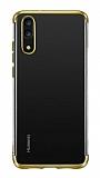 Eiroo Radiant Huawei P30 Lite Gold Kenarlı Şeffaf Silikon Kılıf