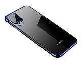 Eiroo Radiant Huawei P40 Lite Mavi Kenarlı Şeffaf Silikon Kılıf