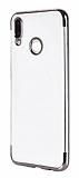 Eiroo Radiant Huawei Y6 2019 / Honor 8A Silver Kenarlı Şeffaf Silikon Kılıf