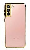 Eiroo Radiant Samsung Galaxy S21 Gold Kenarlı Şeffaf Silikon Kılıf
