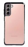 Eiroo Radiant Samsung Galaxy S21 Siyah Kenarlı Şeffaf Silikon Kılıf