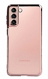 Eiroo Radiant Samsung Galaxy S21 Rose Gold Kenarlı Şeffaf Silikon Kılıf