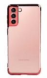 Eiroo Radiant Samsung Galaxy S21 Kırmızı Kenarlı Şeffaf Silikon Kılıf