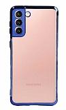 Eiroo Radiant Samsung Galaxy S21 Mavi Kenarlı Şeffaf Silikon Kılıf