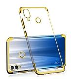 Eiroo Radiant Huawei Y7 2019 Gold Kenarlı Şeffaf Rubber Kılıf