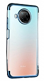 Eiroo Radiant Xiaomi Redmi Note 9 Pro 5G Mavi Kenarlı Şeffaf Silikon Kılıf
