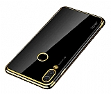 Eiroo Radiant Huawei Y7 Prime 2019 Gold Kenarlı Şeffaf Silikon Kılıf