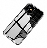 Eiroo Radiant iPhone 11 Silver Kenarlı Şeffaf Silikon Kılıf