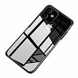 Eiroo Radiant iPhone 11 Siyah Kenarlı Şeffaf Silikon Kılıf