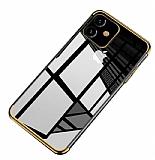 Eiroo Radiant iPhone 11 Gold Kenarlı Şeffaf Silikon Kılıf