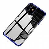 Eiroo Radiant iPhone 11 Lacivert Kenarlı Şeffaf Silikon Kılıf