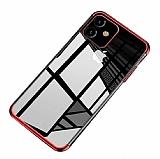 Eiroo Radiant iPhone 11 Kırmızı Kenarlı Şeffaf Silikon Kılıf