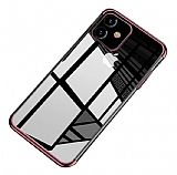 Eiroo Radiant iPhone 11 Rose Gold Kenarlı Şeffaf Silikon Kılıf