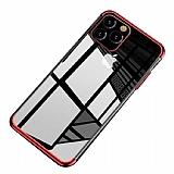 Eiroo Radiant iPhone 11 Pro Kırmızı Kenarlı Şeffaf Silikon Kılıf
