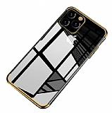 Eiroo Radiant iPhone 11 Pro Gold Kenarlı Şeffaf Silikon Kılıf
