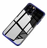 Eiroo Radiant iPhone 11 Pro Lacivert Kenarlı Şeffaf Silikon Kılıf