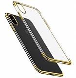 Eiroo Radiant iPhone X Gold Kenarlı Şeffaf Rubber Kılıf