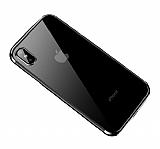 Eiroo Radiant iPhone X / XS Silver Kenarlı Şeffaf Silikon Kılıf