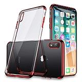 Eiroo Radiant iPhone XR Kırmızı Kenarlı Şeffaf Rubber Kılıf