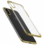 Eiroo Radiant iPhone XS Max Gold Kenarlı Şeffaf Rubber Kılıf