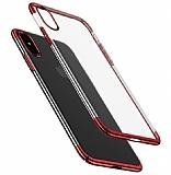 Eiroo Radiant iPhone XS Max Kırmızı Kenarlı Şeffaf Rubber Kılıf