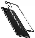 Eiroo Radiant iPhone XS Max Siyah Kenarlı Şeffaf Rubber Kılıf