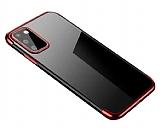 Eiroo Radiant Oppo Reno4 Kırmızı Kenarlı Şeffaf Silikon Kılıf