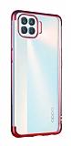 Eiroo Radiant Oppo Reno4 Lite Kırmızı Kenarlı Şeffaf Silikon Kılıf