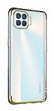 Eiroo Radiant Oppo Reno4 Lite Gold Kenarlı Şeffaf Silikon Kılıf