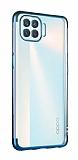 Eiroo Radiant Oppo Reno4 Lite Lacivert Kenarlı Şeffaf Silikon Kılıf