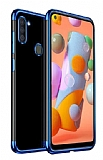 Eiroo Radiant Samsung Galaxy A11 Mavi Kenarlı Şeffaf Silikon Kılıf