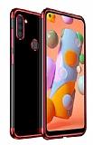 Eiroo Radiant Samsung Galaxy A11 Kırmızı Kenarlı Şeffaf Silikon Kılıf