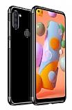 Eiroo Radiant Samsung Galaxy A11 Siyah Kenarlı Şeffaf Silikon Kılıf