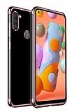 Eiroo Radiant Samsung Galaxy A11 Rose Gold Kenarlı Şeffaf Silikon Kılıf