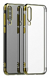 Eiroo Radiant Samsung Galaxy A20S Gold Kenarlı Şeffaf Silikon Kılıf
