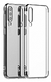 Eiroo Radiant Samsung Galaxy A20S Silver Kenarlı Şeffaf Silikon Kılıf