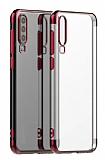 Eiroo Radiant Samsung Galaxy A20S Kırmızı Kenarlı Şeffaf Silikon Kılıf
