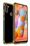 Eiroo Radiant Samsung Galaxy A21 Gold Kenarlı Şeffaf Silikon Kılıf