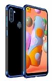 Eiroo Radiant Samsung Galaxy A21 Mavi Kenarlı Şeffaf Silikon Kılıf