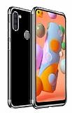 Eiroo Radiant Samsung Galaxy A21 Silver Kenarlı Şeffaf Silikon Kılıf