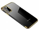Eiroo Radiant Samsung Galaxy A41 Gold Kenarlı Şeffaf Silikon Kılıf
