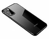 Eiroo Radiant Samsung Galaxy A41 Siyah Kenarlı Şeffaf Silikon Kılıf