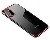 Eiroo Radiant Samsung Galaxy A41 Kırmızı Kenarlı Şeffaf Silikon Kılıf