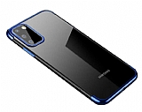 Eiroo Radiant Samsung Galaxy A41 Lacivert Kenarlı Şeffaf Silikon Kılıf