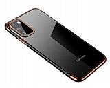 Eiroo Radiant Samsung Galaxy A41 Rose Gold Kenarlı Şeffaf Silikon Kılıf