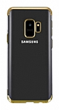 Eiroo Radiant Samsung Galaxy A6 2018 Gold Kenarlı Şeffaf Silikon Kılıf