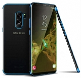 Eiroo Radiant Samsung Galaxy A6 Plus 2018 Mavi Kenarlı Şeffaf Silikon Kılıf