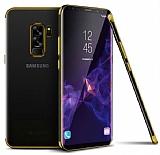 Eiroo Radiant Samsung Galaxy A6 Plus 2018 Gold Kenarlı Şeffaf Silikon Kılıf