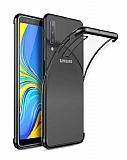 Eiroo Radiant Samsung Galaxy A7 2018 Siyah Kenarlı Şeffaf Silikon Kılıf
