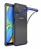 Eiroo Radiant Samsung Galaxy A7 2018 Lacivert Kenarlı Şeffaf Silikon Kılıf